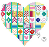 Patchwork heart counted cross stitch kit