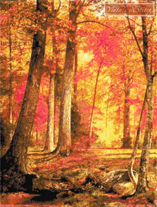 Path in the forest , autumn landscape counted cross stitch kit