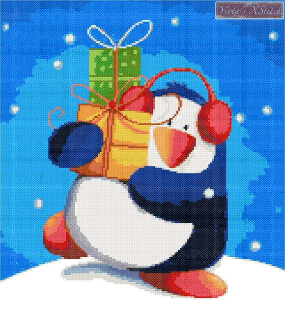 Penguin with presents counted cross stitch kit