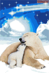 Polar bear mother and baby counted cross stitch kit