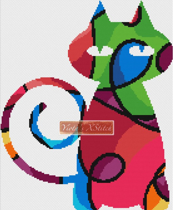 Psychedelic cat counted cross stitch kit