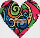 Psychedelic heart counted cross stitch kit