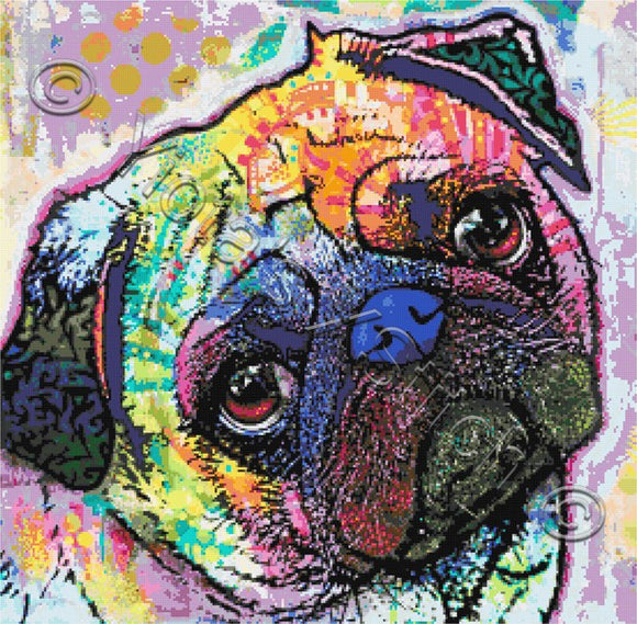 Pug love abstract counted cross stitch kit