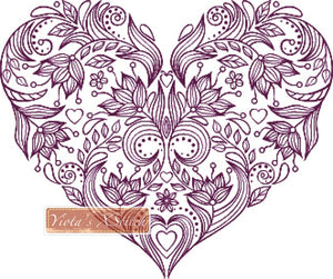 Purple floral heart counted cross stitch kit