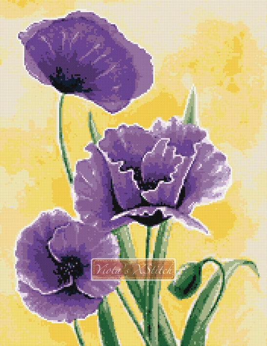 Purple poppies counted cross stitch kit