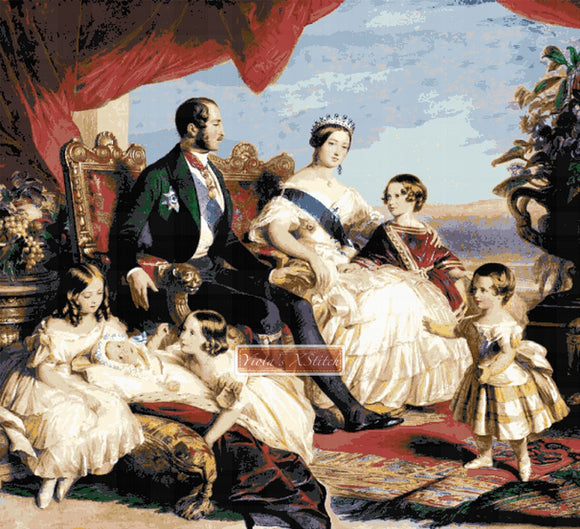 Queen Victoria, Prince and children, large and advanced counted cross stitch kit.