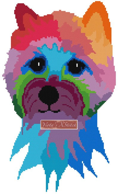 Rainbow cairn terrier counted cross stitch kit