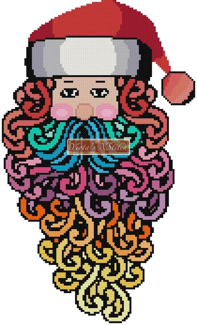 Rainbow Santa counted cross stitch kit