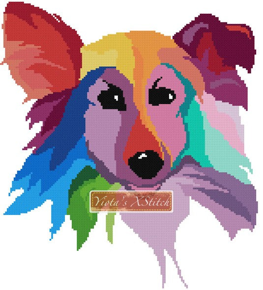Rainbow border collie counted cross stitch kit