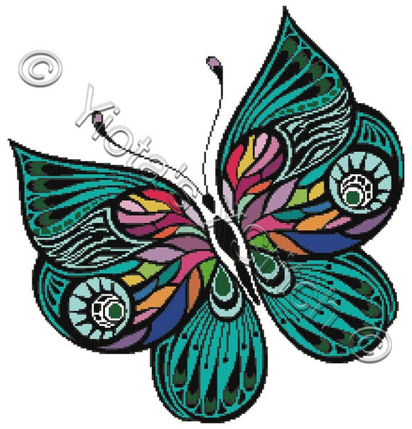 Rainbow butterfly (v3) counted cross stitch kit