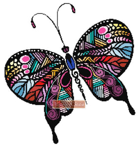 Rainbow butterfly (v4) counted cross stitch kit