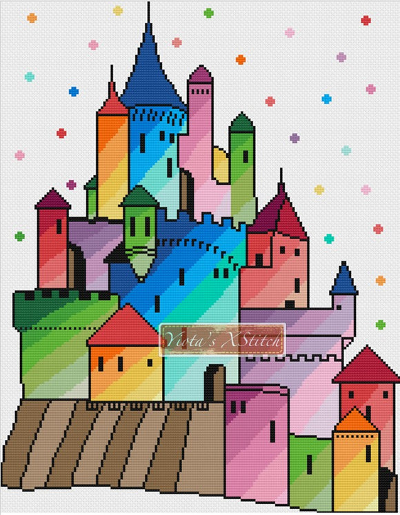 Rainbow castle counted cross stitch kit