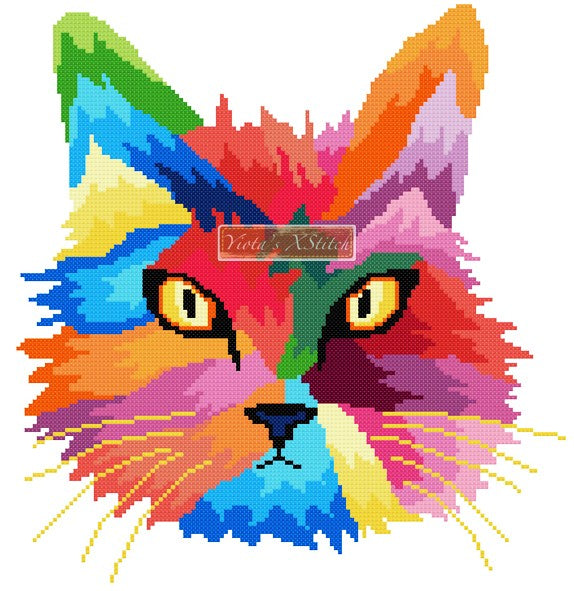 Rainbow cat (v2) counted cross stitch kit