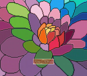 Rainbow dahlia counted cross stitch kit