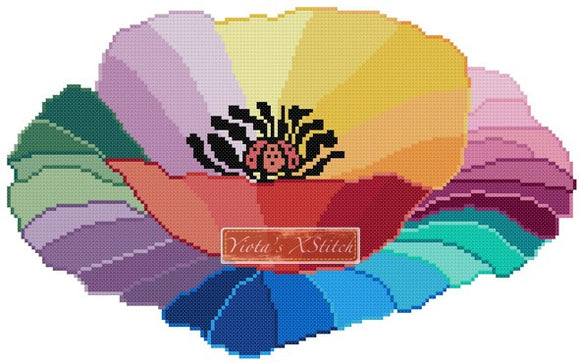 Rainbow poppy counted cross stitch kit