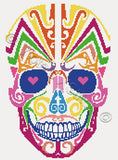 Rainbow sugar skull counted cross stitch kit