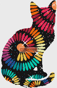 Rainbow swirl cat counted cross stitch kit