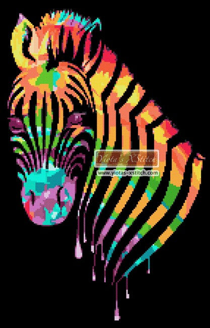 Rainbow zebra (v2) counted cross stitch kit