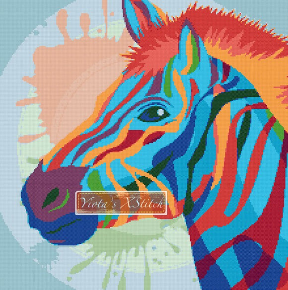 Rainbow zebra (v3) counted cross stitch kit
