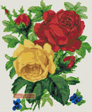 Red and yellow roses counted cross stitch kit