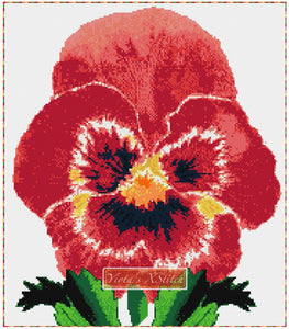 Red pansy counted cross stitch kit