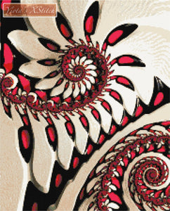 Red and white fractal counted cross stitch kit