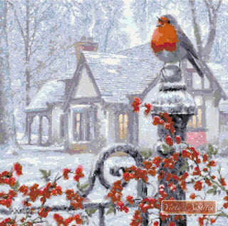 Robin on gatepost counted cross stitch kit