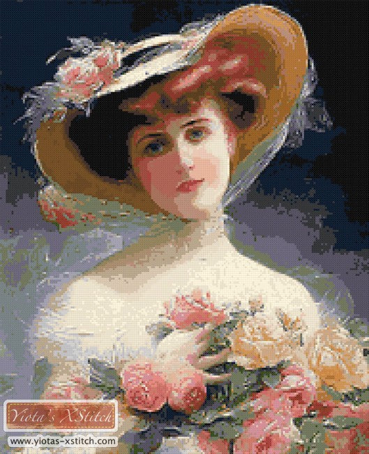 Roses Victorian lady counted cross stitch kit