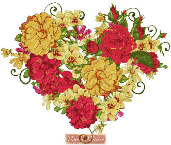 Roses heart counted cross stitch kit