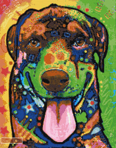 Rottweiler puppy abstract counted cross stitch kit