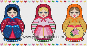 Russian dolls counted cross stitch kit