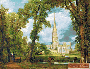 Salisbury cathedral by Constable counted cross stitch kit