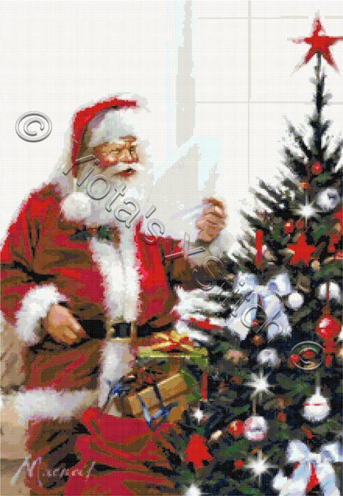 Santa reading list counted cross stitch kit