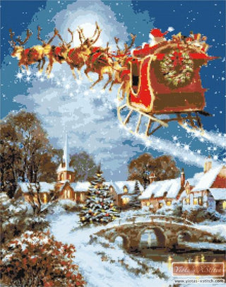 Santa and sleigh counted cross stitch kit
