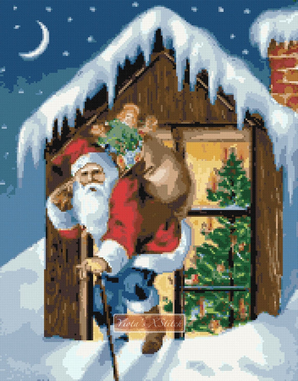 Santa on roof (v2) counted cross stitch kit