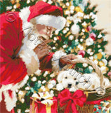 Santa and puppies counted cross stitch kit