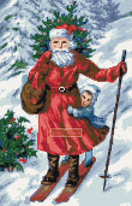 Santa skating counted cross stitch kit