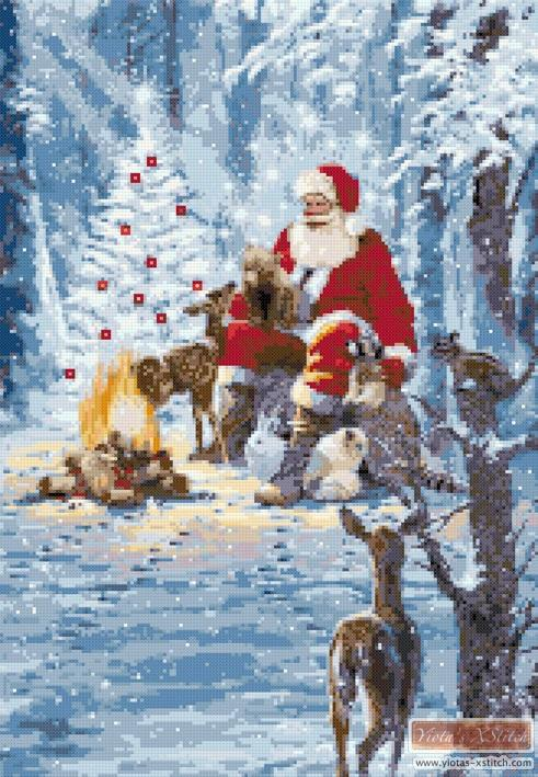 Santa's campfire counted cross stitch kit