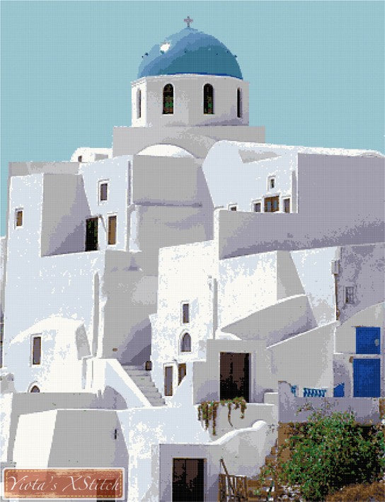 Santorini Greek church No2 counted cross stitch kit