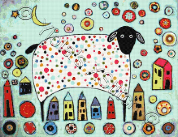 Sheep collage counted cross stitch kit. Modern and abstract counted cross stitch kit with whole stitches only.