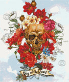 Skull and flowers No1 counted cross stitch kit