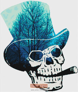 Skull smoking counted cross stitch kit