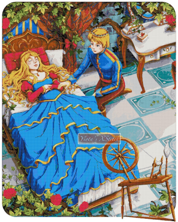 Sleeping beauty and prince counted cross stitch kit