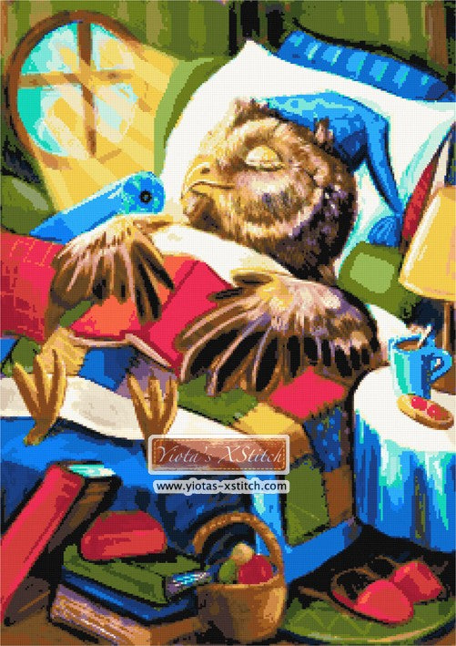 Sleeping owl counted cross stitch kit