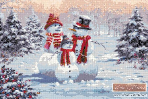 Snow family counted cross stitch kit
