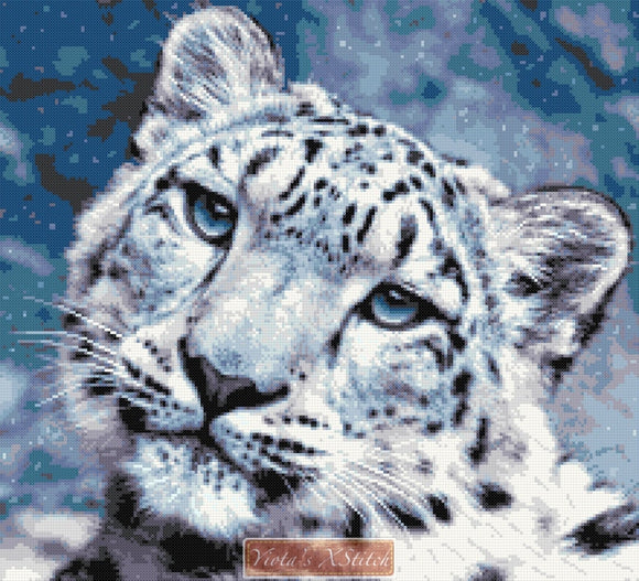 Snow leopard face counted cross stitch kit