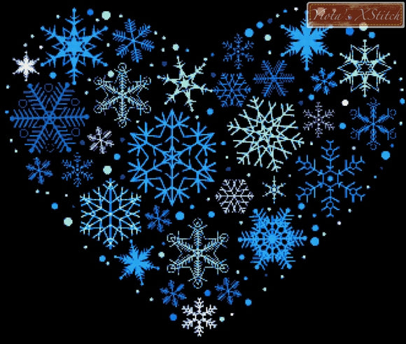 Snowflake heart counted cross stitch kit