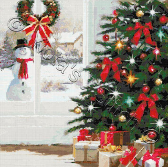 Snowman at Christmas window counted cross stitch kit