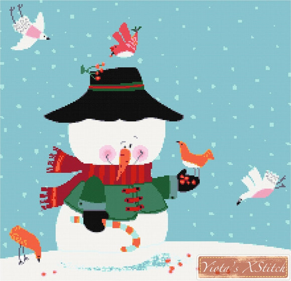 Snowman with birds counted cross stitch kit