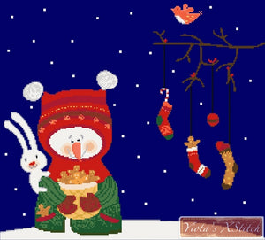 Snowman with bunny counted cross stitch kit